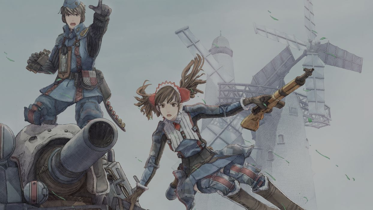 alicia melchiott gun valkyria chronicles weapon welkin gunther wallpaper