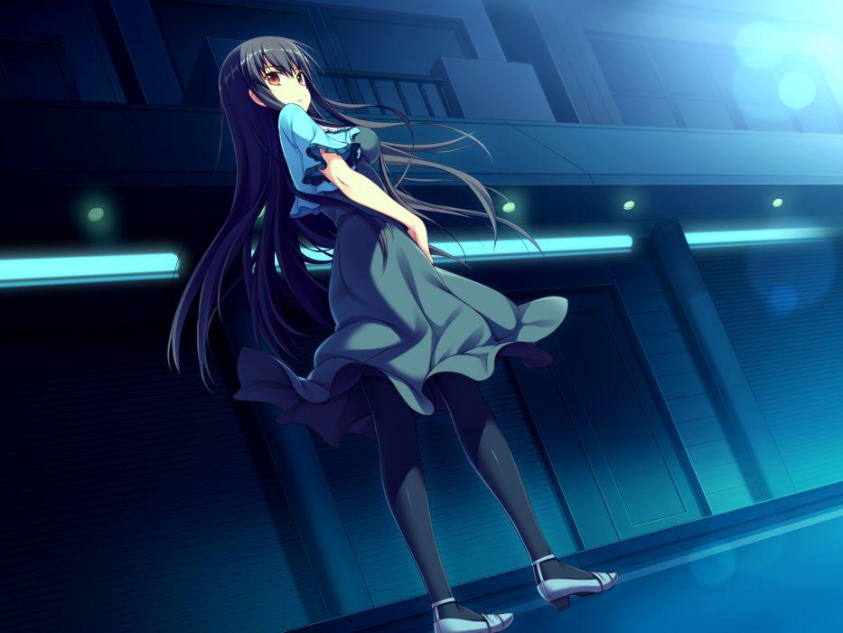 amakura black hair dress game cg long hair pantyhose red eyes worlds and world's end yazama fumika wallpaper