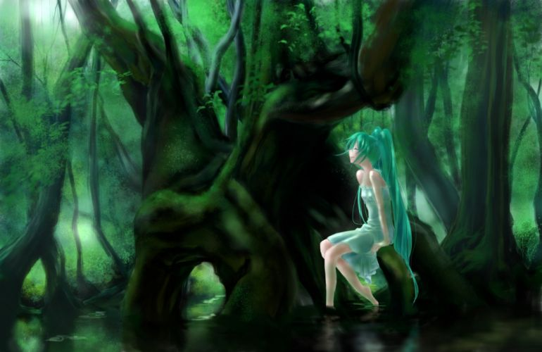 aqua hair forest hatsune miku tagme tree twintails vocaloid wallpaper
