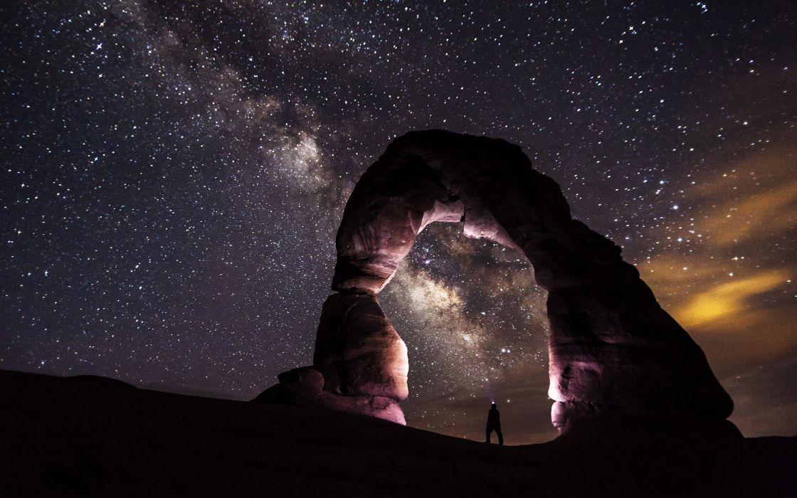 Arch Person Night Stars Galaxy Milky Way Rocks Stones wallpaper