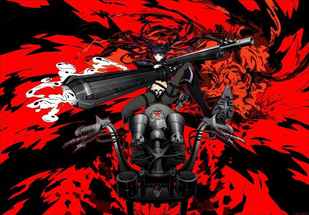 arsenixc black hair black rock shooter boots gun kuroi mato motorcycle navel pantyhose red twintails weapon wallpaper