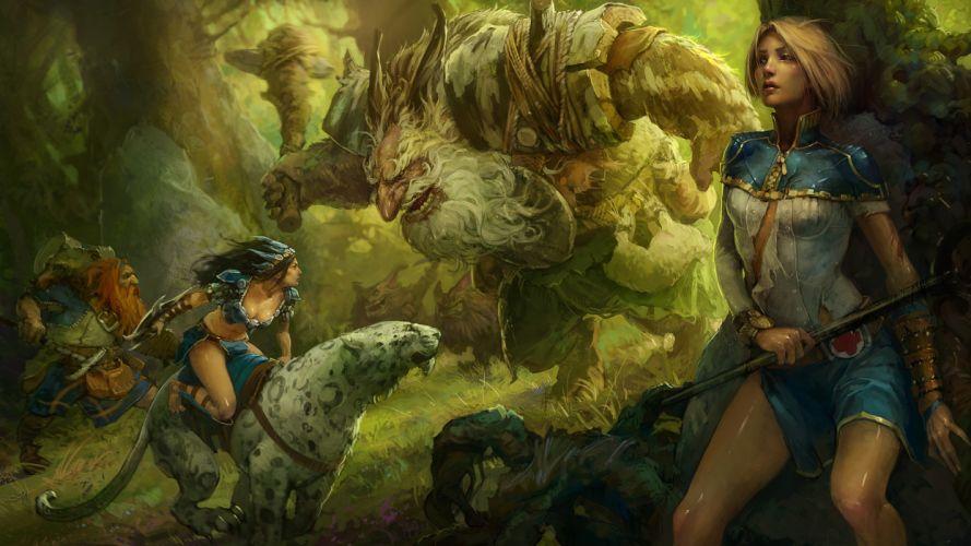 art Mikhail Rakhmatullin girl forest montsry cat wild predator battle weapon wallpaper