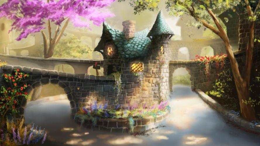 art painting painting bridge house tree flowers river wallpaper