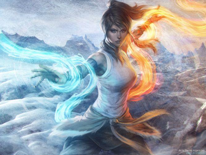 avatar blue eyes brown hair fire korra legend of korra ponytail signed snow stanley lau water wallpaper