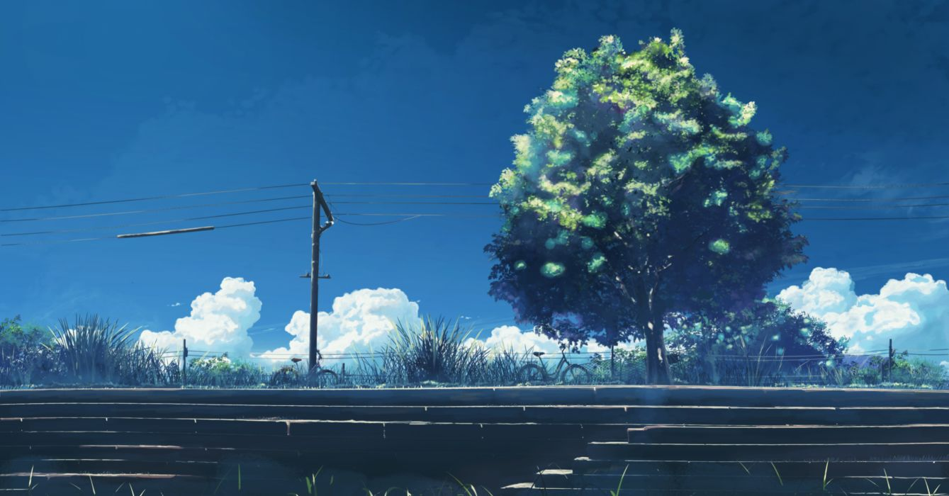 bicycle clouds grass hatsuame original scenic sky stairs summer tree wallpaper