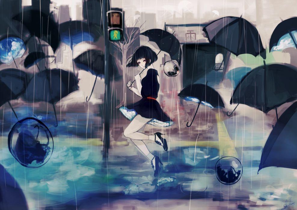black eyes black hair maydell original rain short hair umbrella wallpaper
