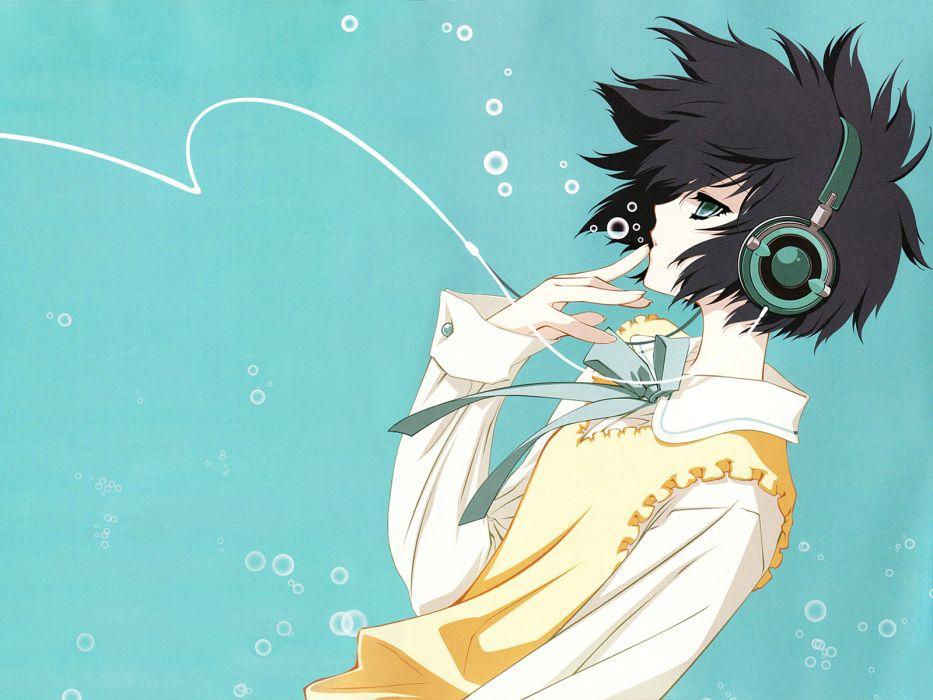 black hair blue carnelian headphones para-sol short hair yatabe miu wallpaper