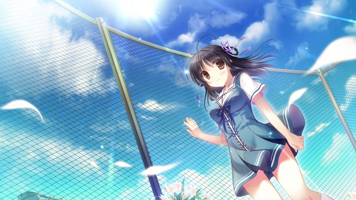 black hair brown eyes cabbit flowers game cg kimi e okuru sora no hana kitao sekka petals seifuku sky yukie wallpaper
