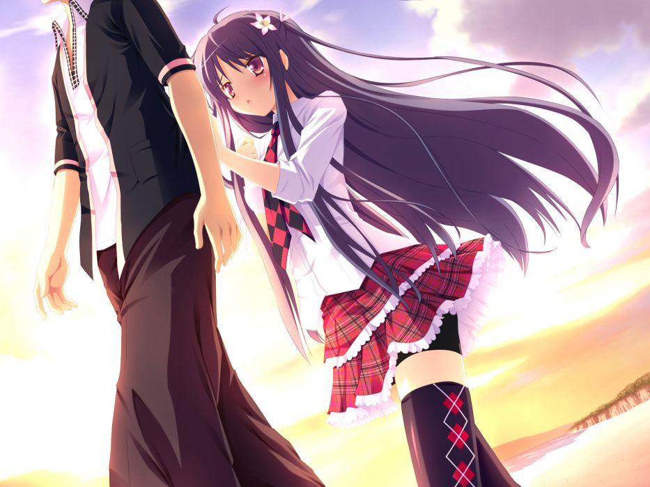 black hair game cg kibitsumiya akari long hair nimura yuushi oni gokko skirt thighhighs tie zettai ryouiki wallpaper