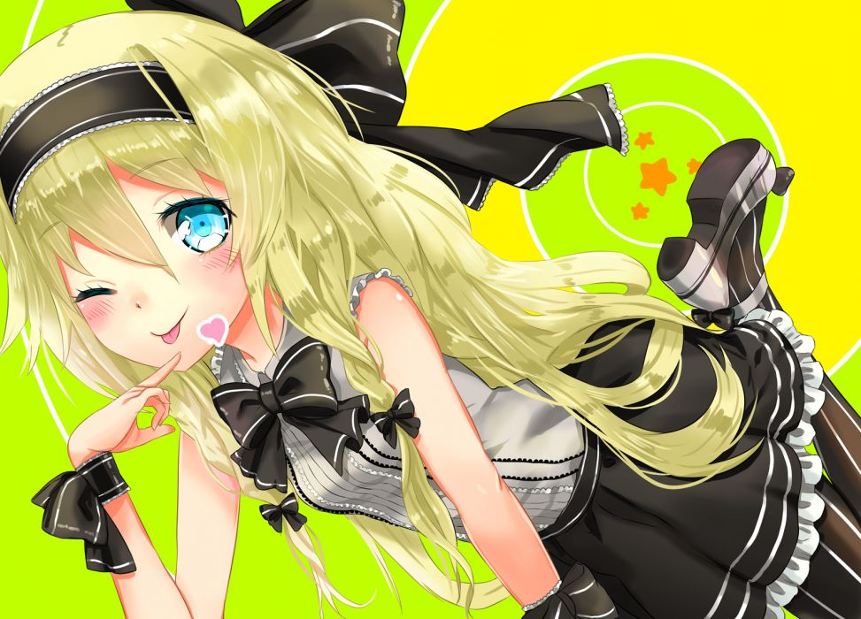 blonde hair blue eyes blush bow braids dress ia kanipanda vocaloid wink wallpaper