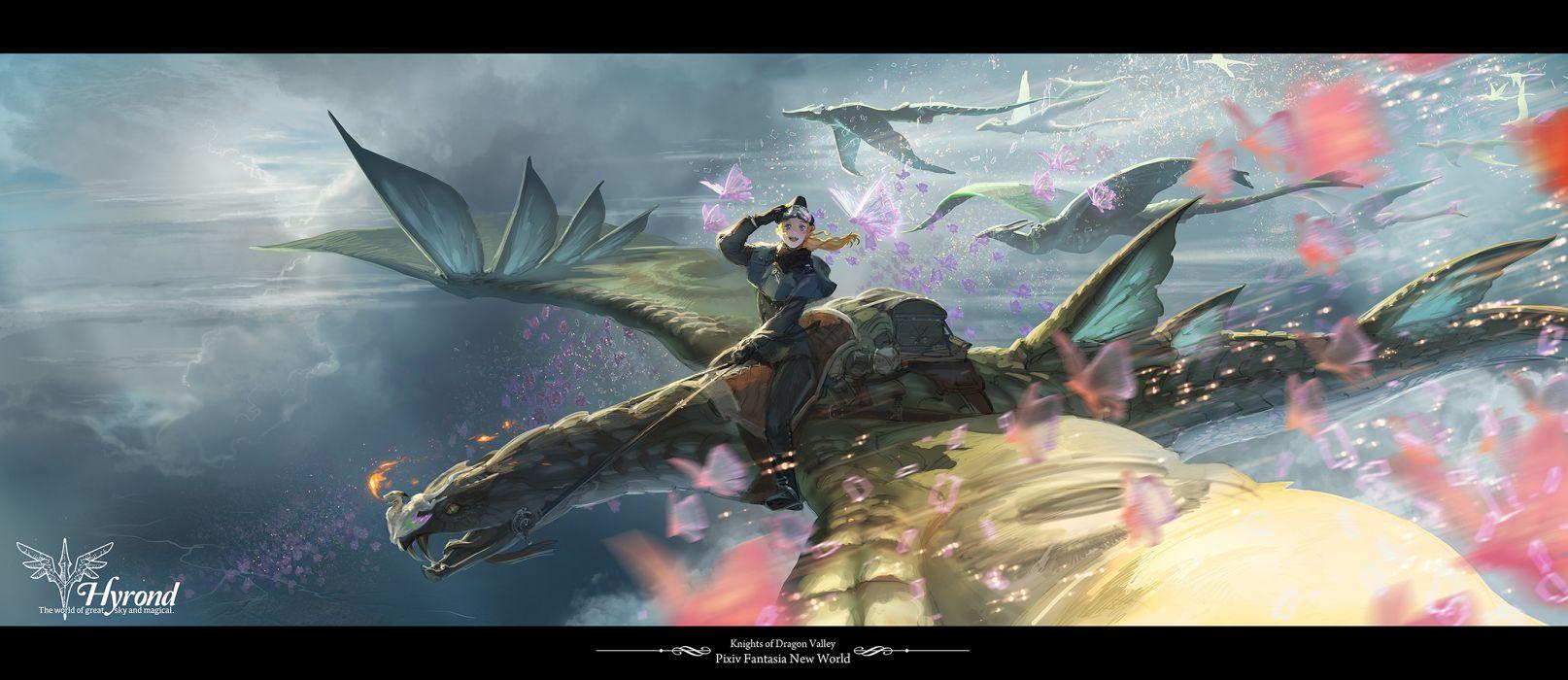 blonde hair blue hair butterfly clouds dragon pixiv fantasia yuuki youichi wallpaper