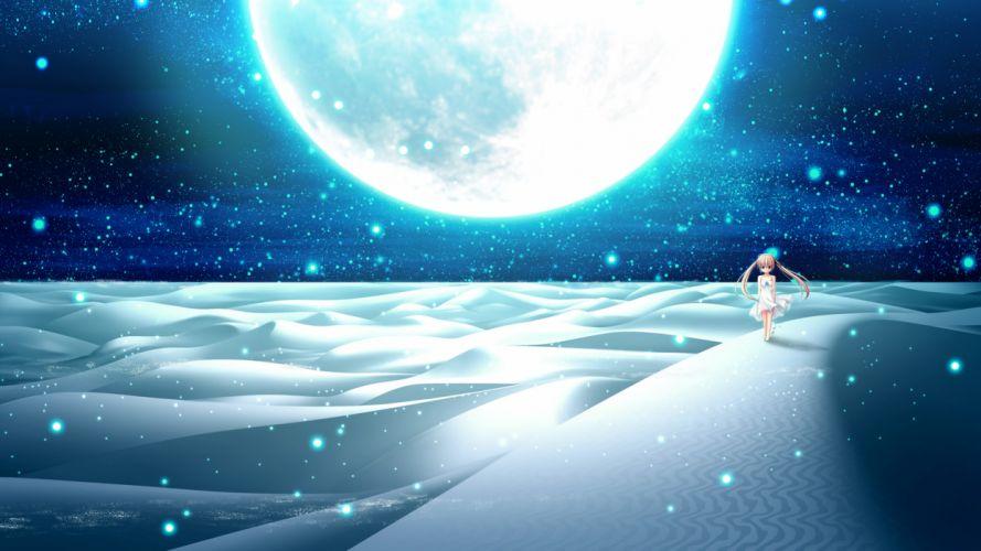 blonde hair desert landscape minato miu moon night sakura sakimashita scenic wallpaper