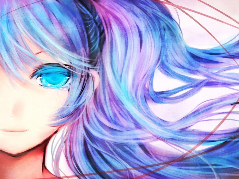 blue eyes blue hair close crying efushi hatsune miku vocaloid   r wallpaper