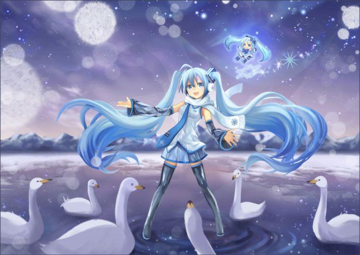 blue eyes blue hair chibi dress hatsune miku kari kenji snow twintails vocaloid yuki miku wallpaper