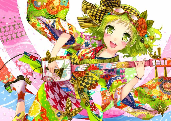blush flowers goggles green eyes green hair gumi instrument japanese clothes kanipanda kimono short hair vocaloid wallpaper