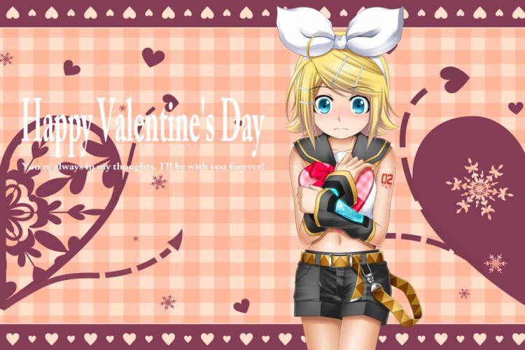 blush heart kagamine rin kuromayu valentine vocaloid wallpaper