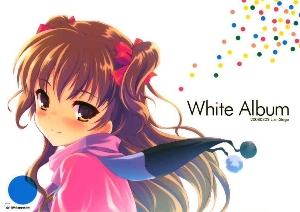 brown eyes brown hair ogata rina qp-flapper scarf white album wallpaper