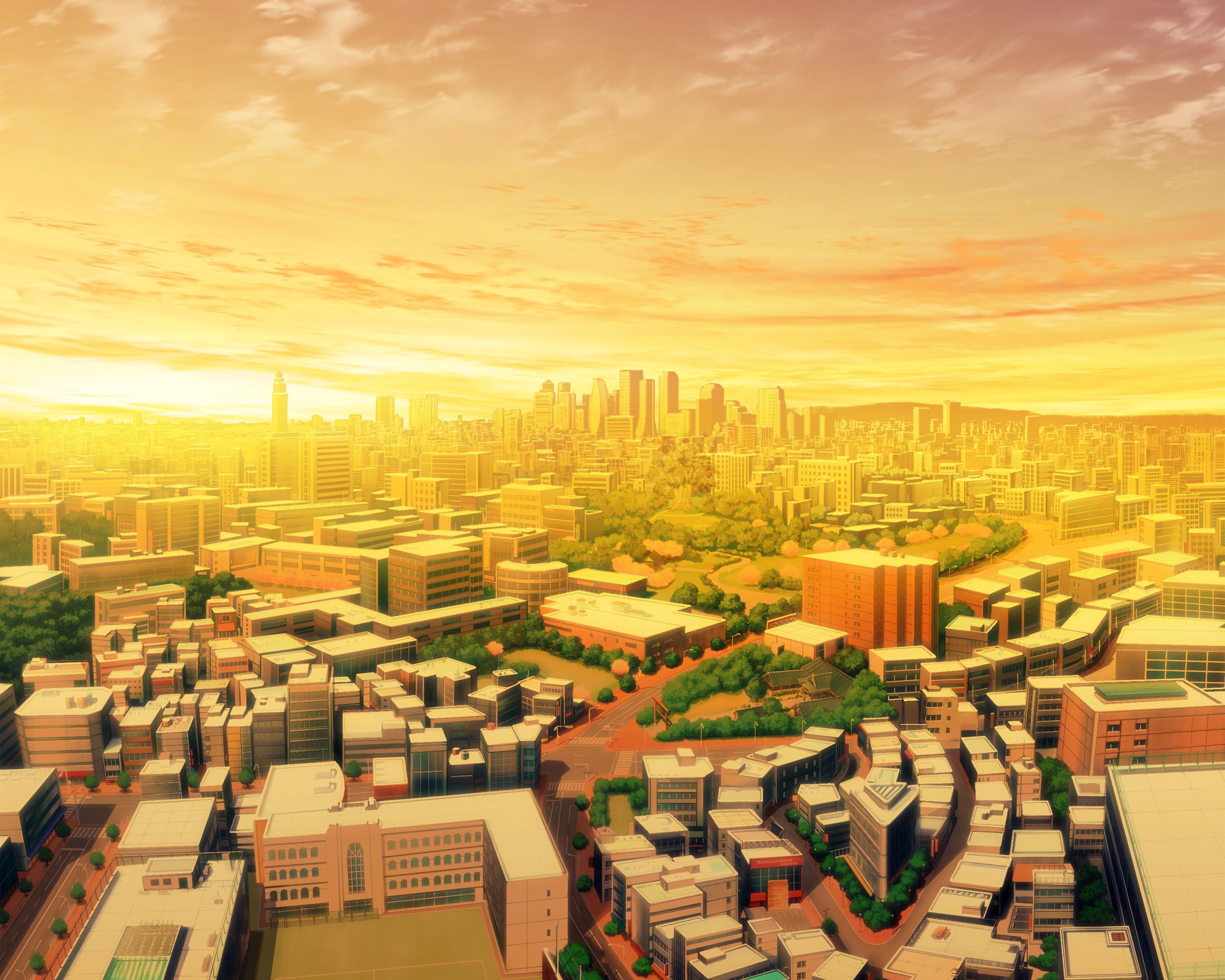 Sunset City Building Building City Clouds Landscape