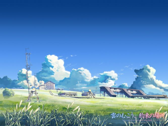 building clouds kumo no mukou yakusoku no basho landscape scenic shinkai makoto sky wallpaper