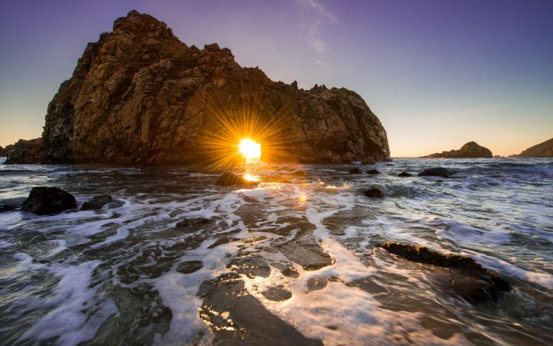 California ocean rock sunset wallpaper