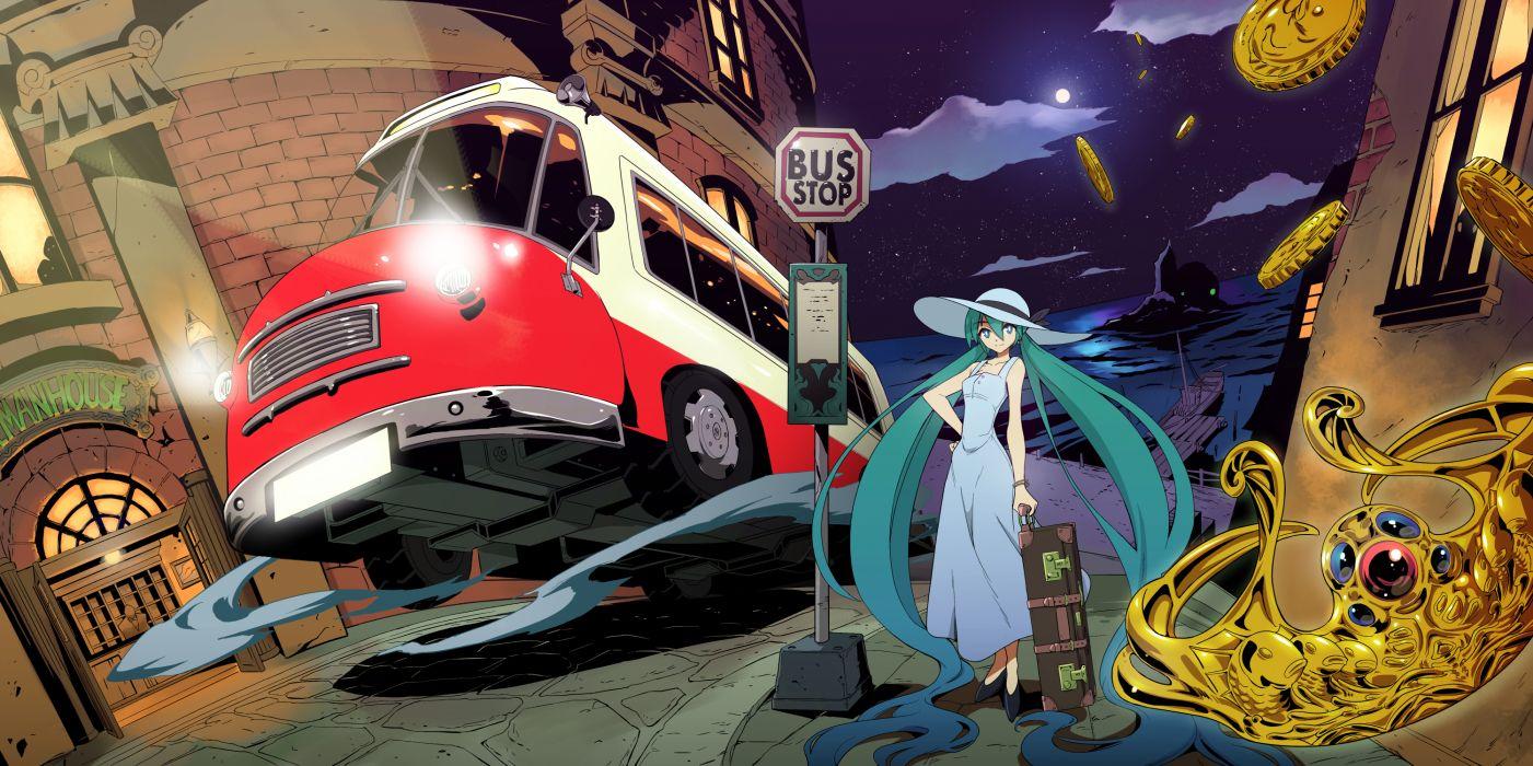 car crown dress hat hatsune miku long hair maxgonta night vocaloid wallpaper