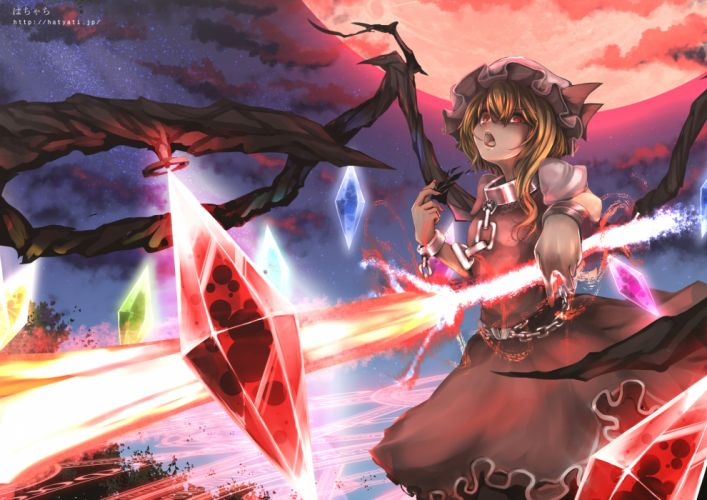 chain clouds collar flandre scarlet hachachi handcuffs moon night red eyes ribbons sky touhou wings wallpaper