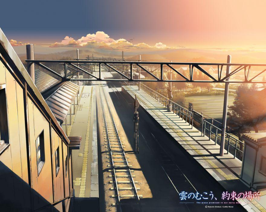 city kumo no mukou yakusoku no basho landscape scenic wallpaper