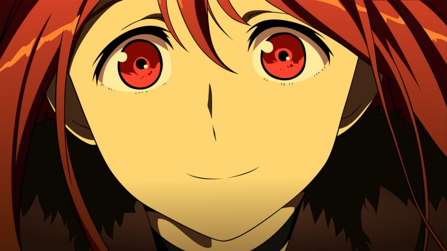 close maou (maoyuu) maoyuu maou yuusha red eyes red hair wallpaper