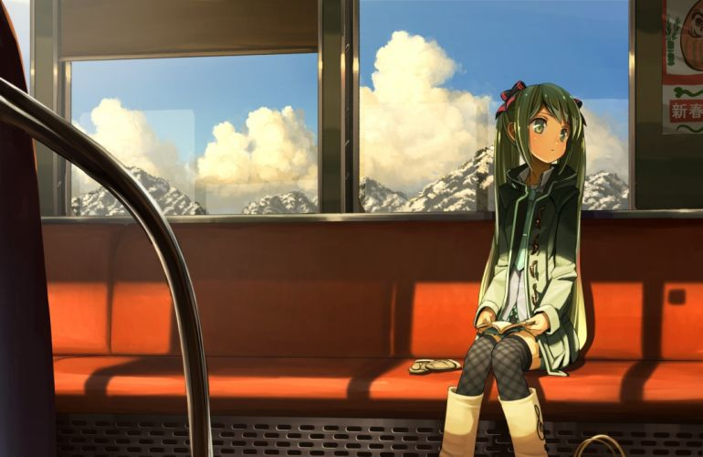 clouds domo1220 hatsune miku tagme train twintails vocaloid wallpaper