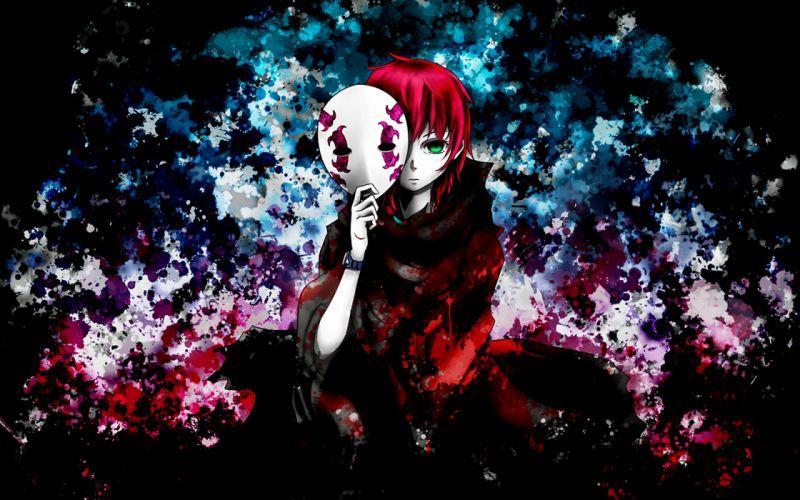 deadman wonderland green eyes mask midou azami red hair wallpaper