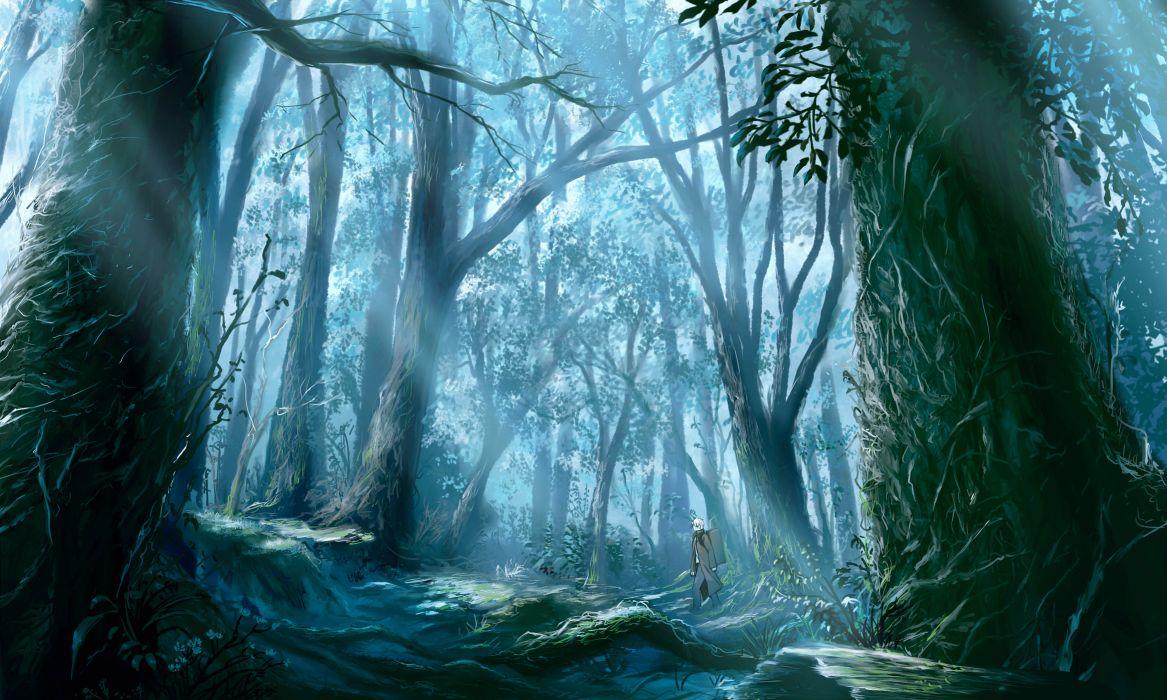 forest ginko (mushishi) mushishi tree white hair wallpaper