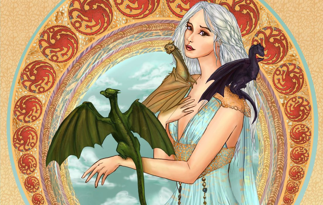 Game of Thrones Dragons Painting Art Movies Girls wallpaper