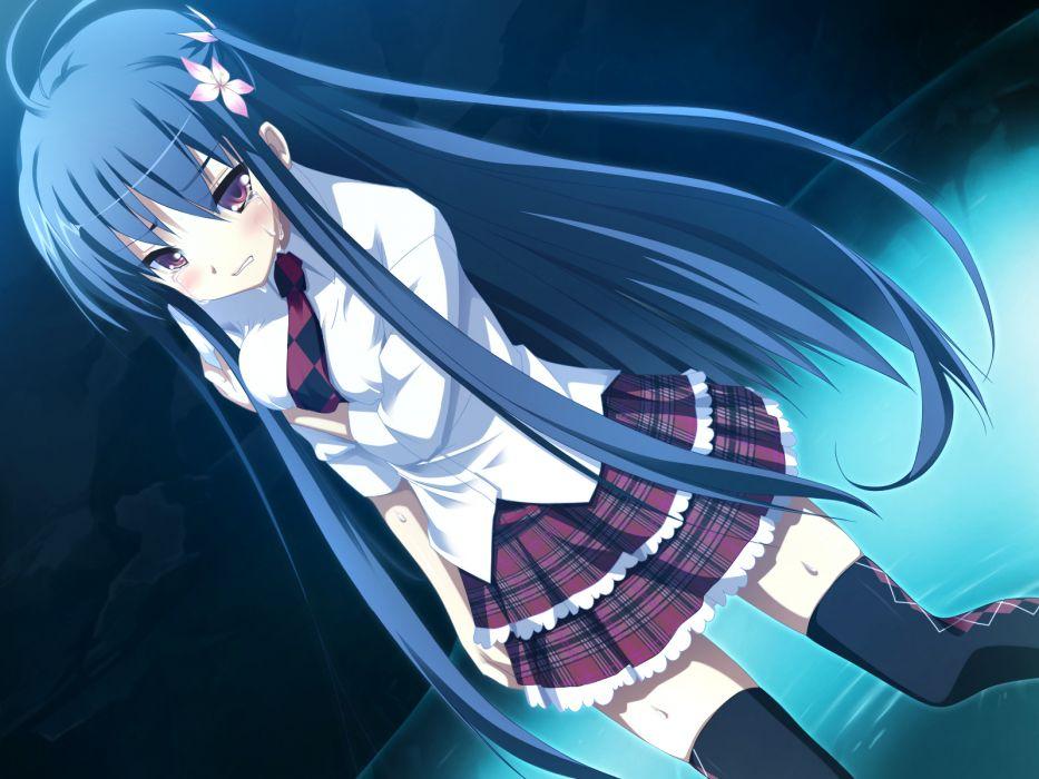 game cg kibitsumiya akari long hair nimura yuushi oni gokko seifuku tears thighhighs wallpaper