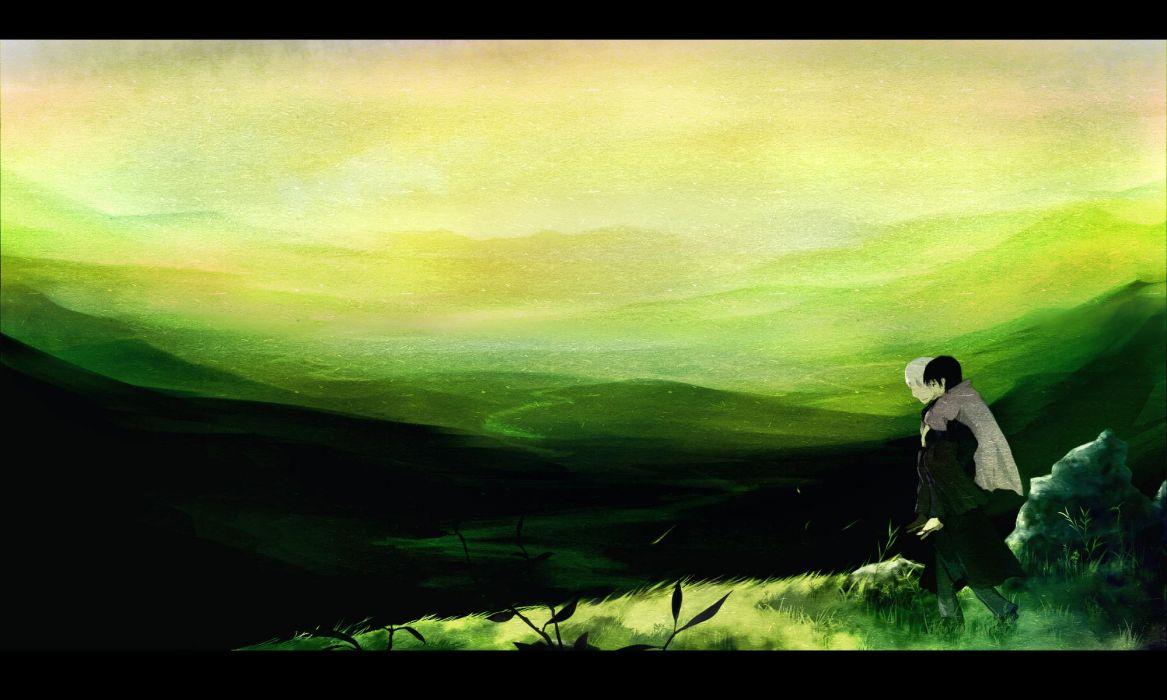 ginko (mushishi) grass green mushishi scenic tanyuu yatsude wallpaper
