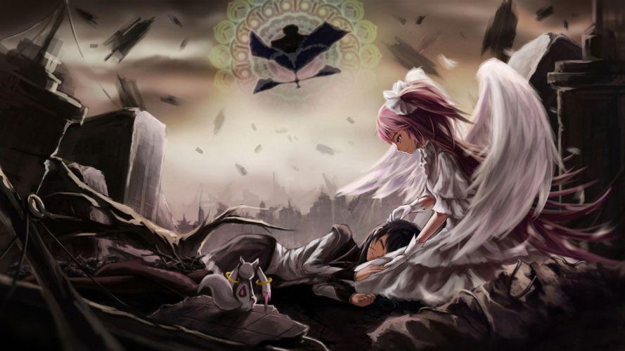 Girl angel animal ruins wallpaper