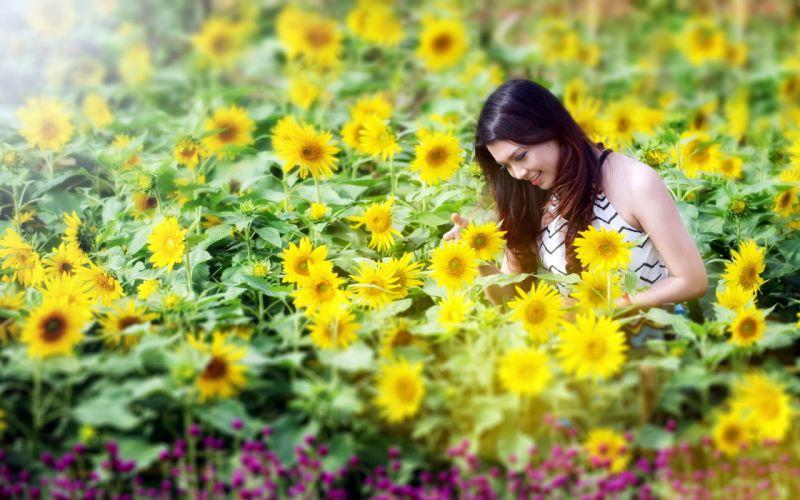 girl sunflowers summer wallpaper
