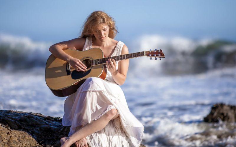 girl guitar music sea wallpaper