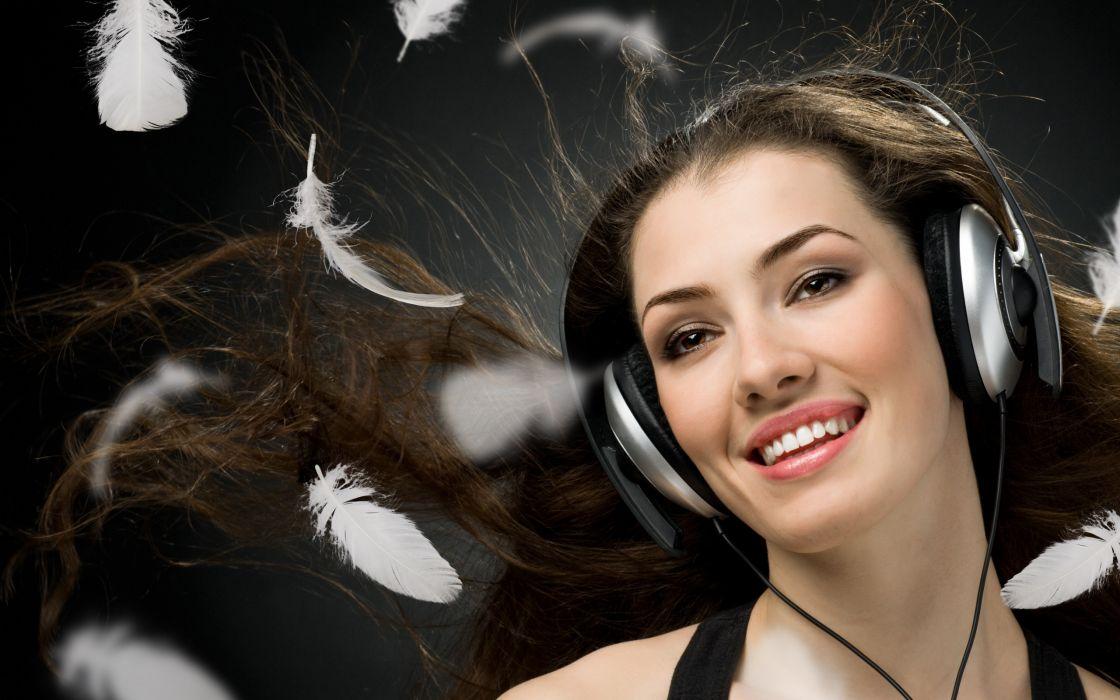 girl joy charm wind headphones eyes feathers wallpaper
