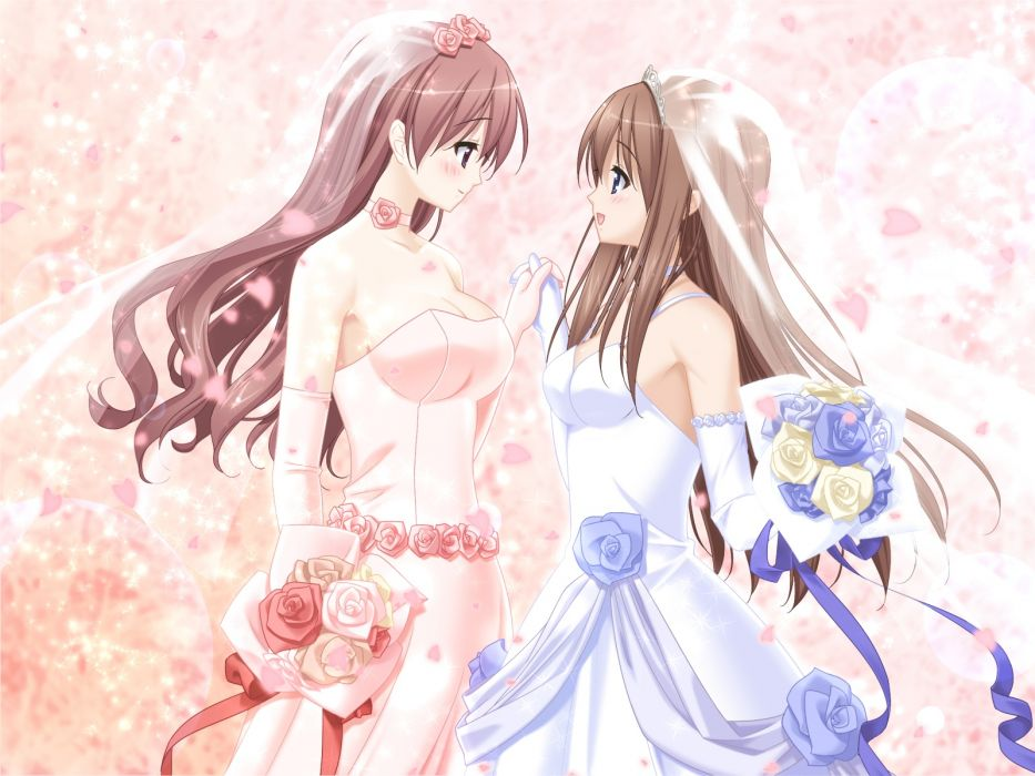girls blush brown hair flowers kitajima kaede kitajima sara long hair peko sono hanabira ni kuchizuke wo wedding wedding dress yuri wallpaper