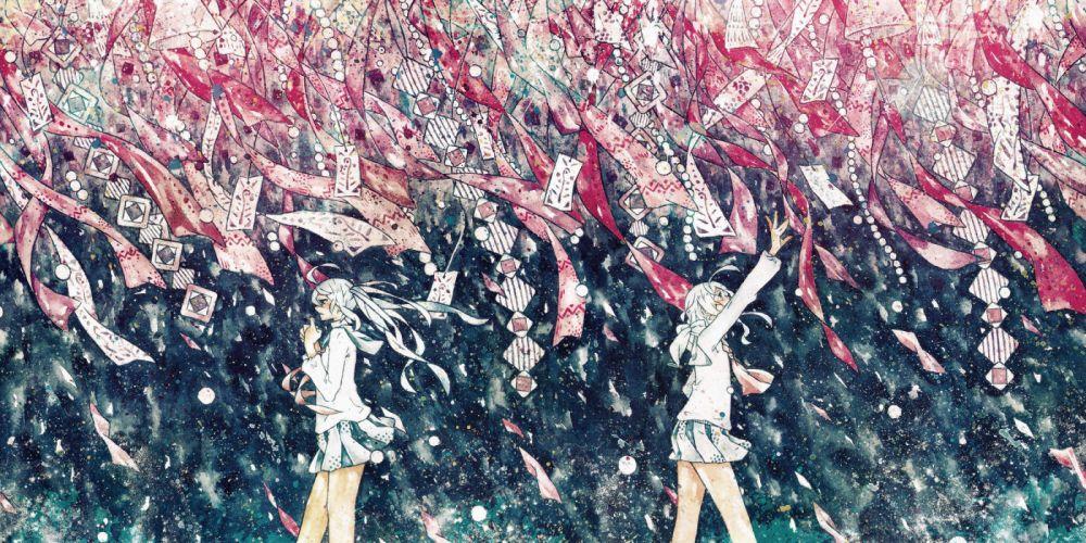 gumi hatsune miku nonogawa ribbons seifuku vocaloid wallpaper