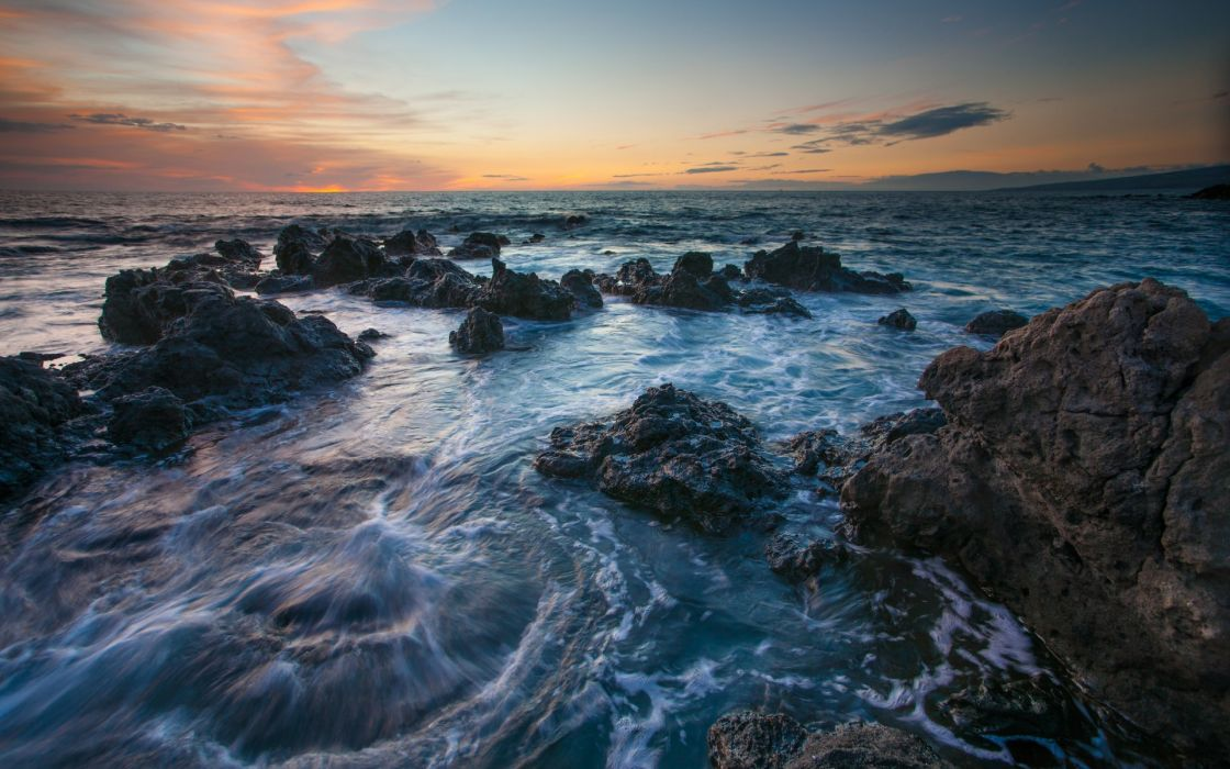 Hawaii sea rocks sunset wallpaper