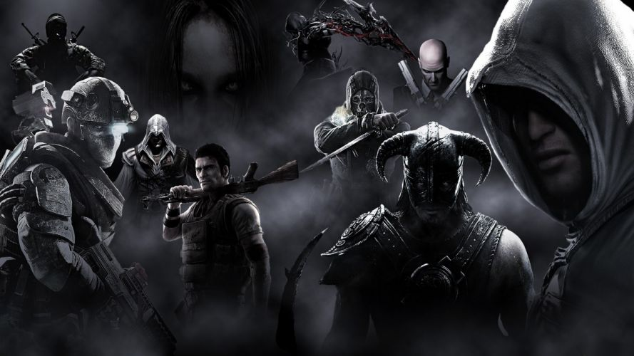 Hitman Assasins Creed Prototype The Elder Scrolls Skyrim Dishonored Dovahkiin Ghost Recon Future Soldier FEAR Call of Duty Black Ops wallpaper