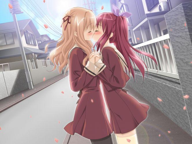 kiss matsubara yuna oda nanami peko seifuku sono hanabira ni kuchizuke wo yuri wallpaper