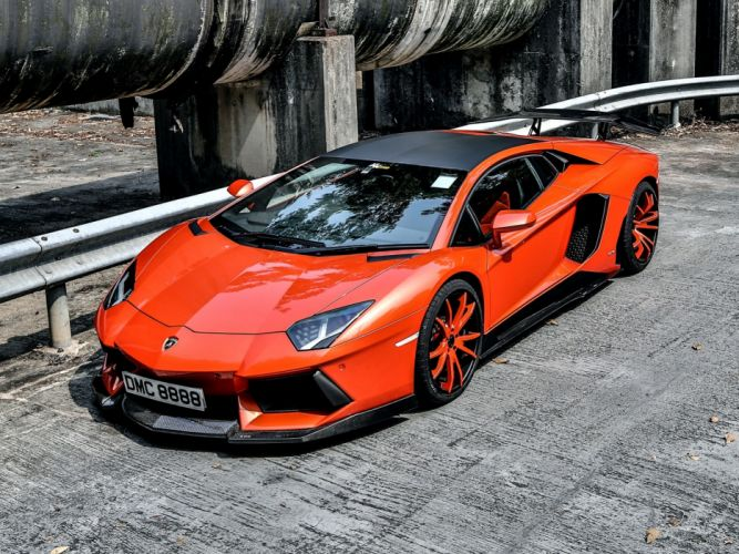 Lamborgini Aventador Orange Tuning wallpaper