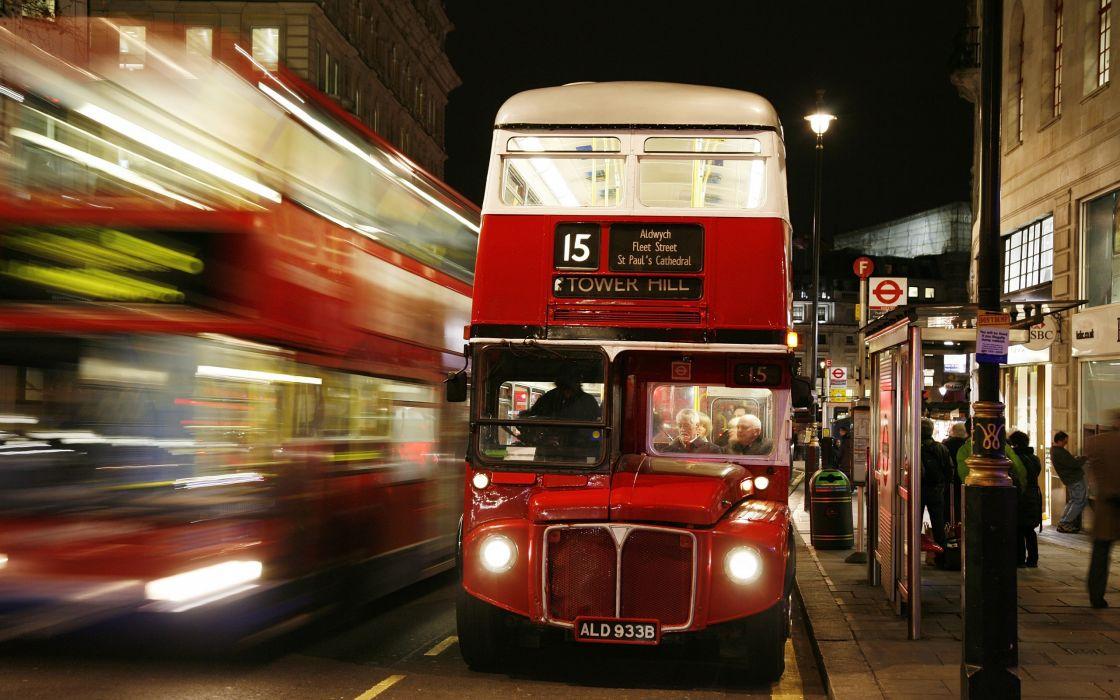 london england bus night lights people blur Passengers driver street road lantern city wallpaper