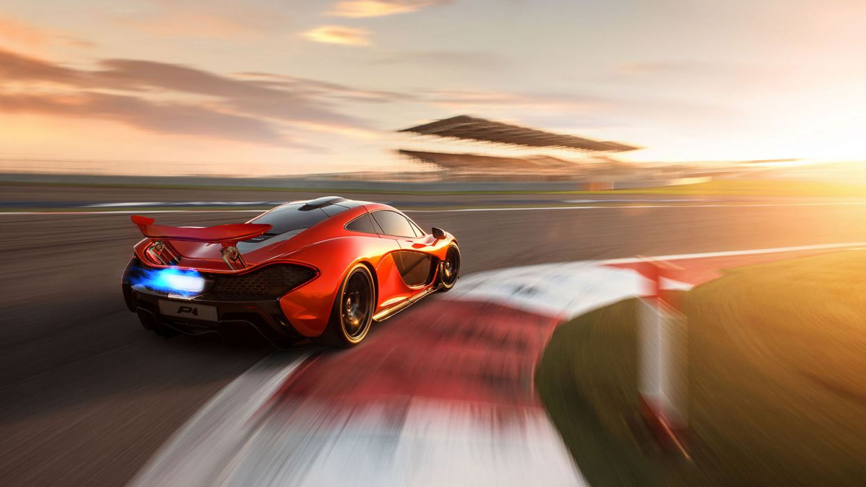 McLaren P1 Race Track Motion Blur Backfire Flame wallpaper