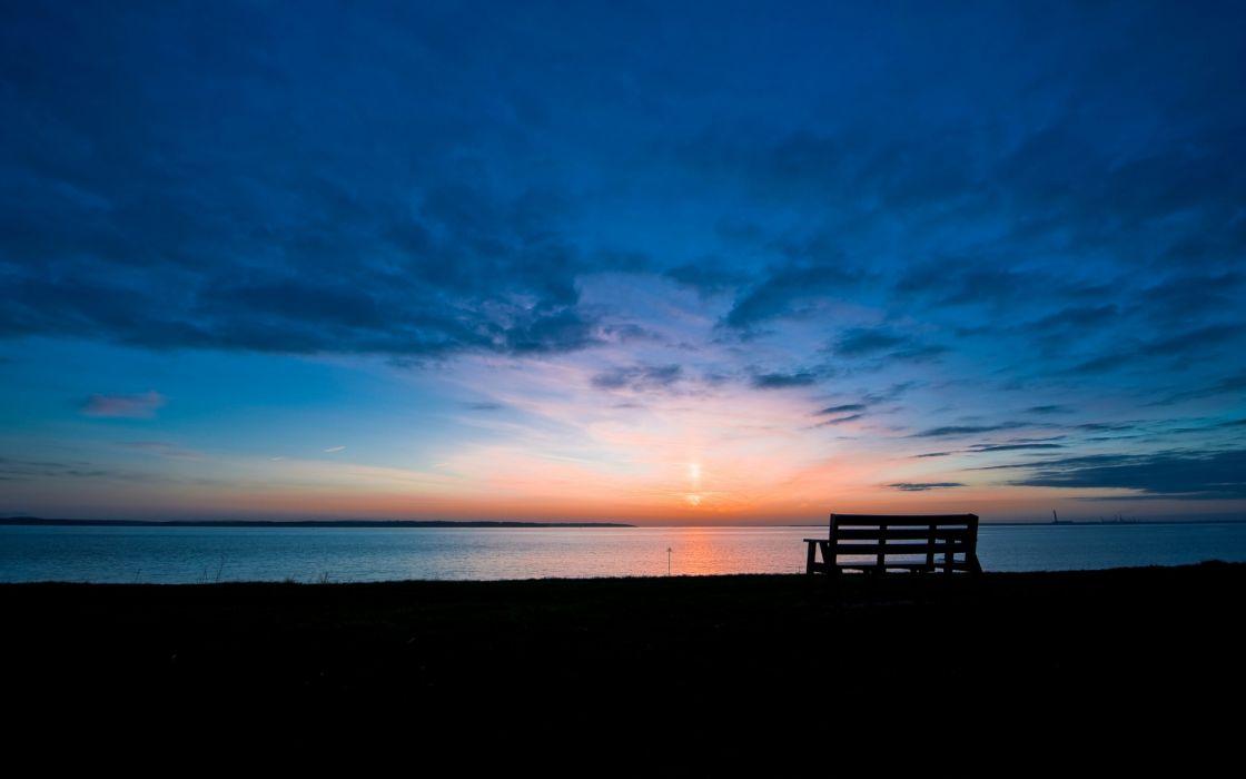Morning Dawn bench bench lake skyline sun sunrise sky clouds wallpaper