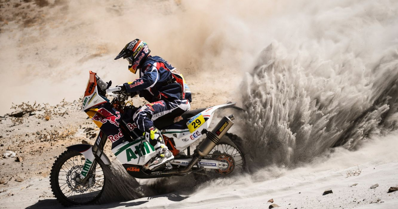 Motorcycle  rider  two wheels  Dakar  Sand  Sport  Red Bull wallpaper