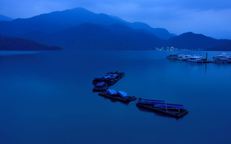 mountains bay boat ferry lights night lakes wallpaper