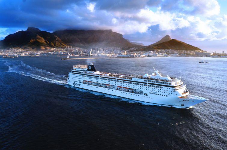 MSC Sinfonia ship White Passenger on the go Sea Day City Sky Mountains wallpaper